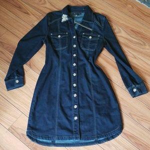 NWT- INC Dark Denim Button Down Dress